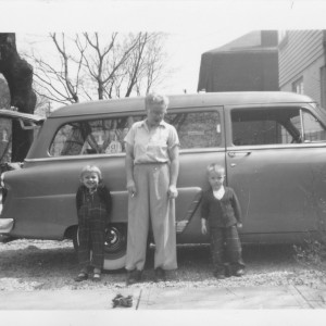 1952 Meteor Ranchwagon  my sister, grandmother or aunt and myself
